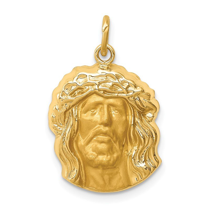 Quality Gold 14k Hollow Polished/Satin Medium Jesus Medal