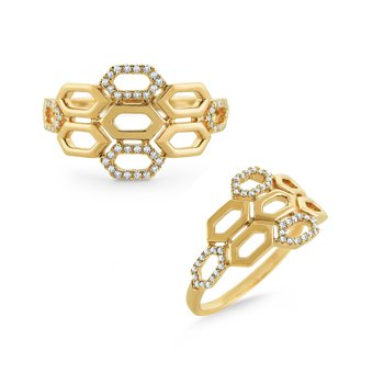Diamond Honeycomb Ring Set in 14 Kt. Gold