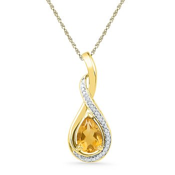 10kt Yellow Gold Womens Pear Lab-Created Citrine Solitaire Diamond Pendant 1.00 Cttw