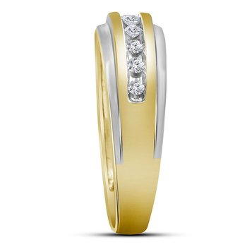 14kt Two-tone Yellow Gold Mens Round Diamond Single Row Grooved Wedding Band Ring 1/4 Cttw
