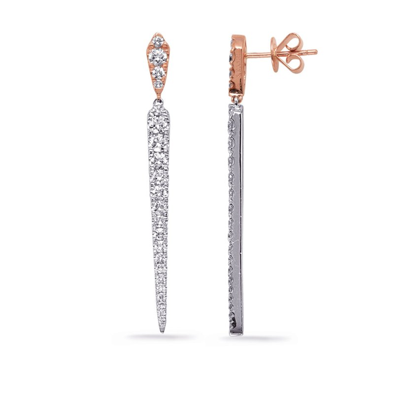 S. Kashi  & Sons Rose & White Gold Diamond Earring