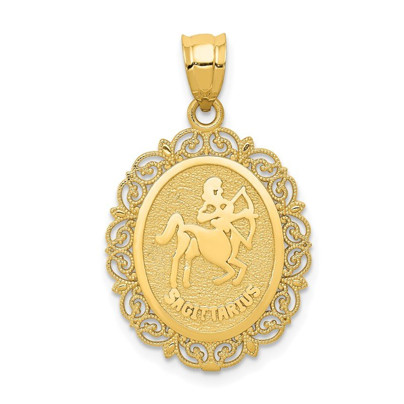 Quality Gold 14k Solid Satin Polished Sagittarius Zodiac Oval Pendant