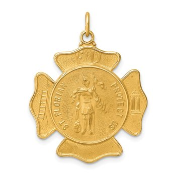 14k Solid Polished/Satin Large St. Florian Fire Dept. Badge Medal