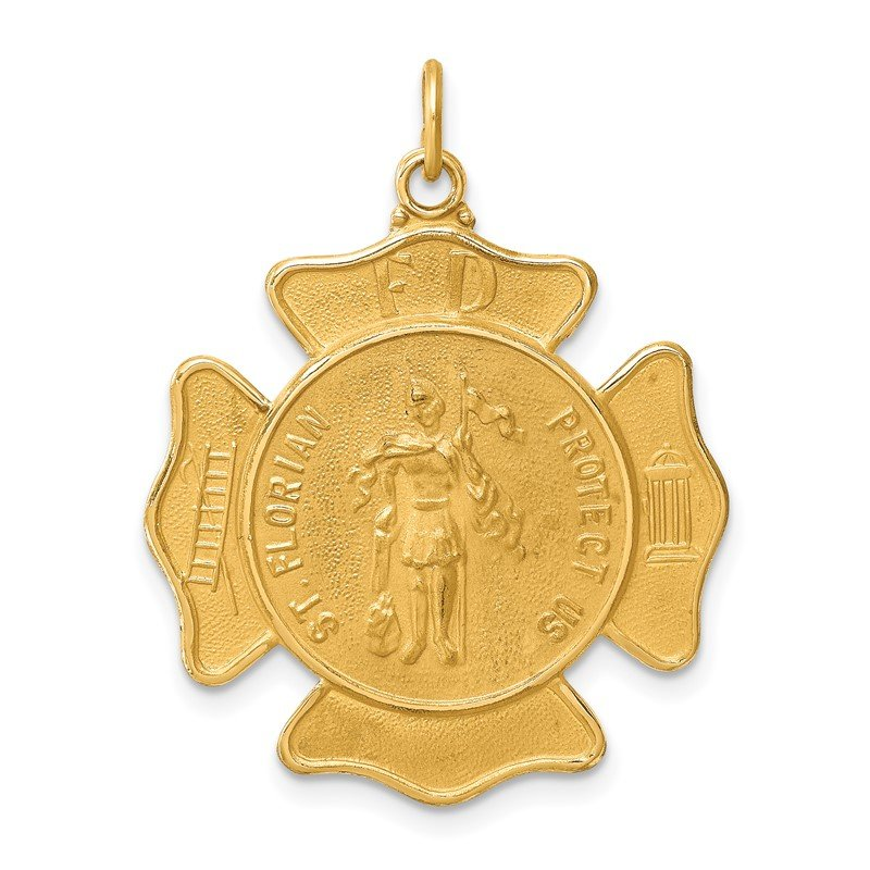Quality Gold 14k Solid Polished/Satin Large St. Florian Fire Dept. Badge Medal