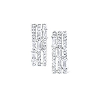 Diamond Triple Row Mosaic Stud Earrings Set in 14 Kt. Gold