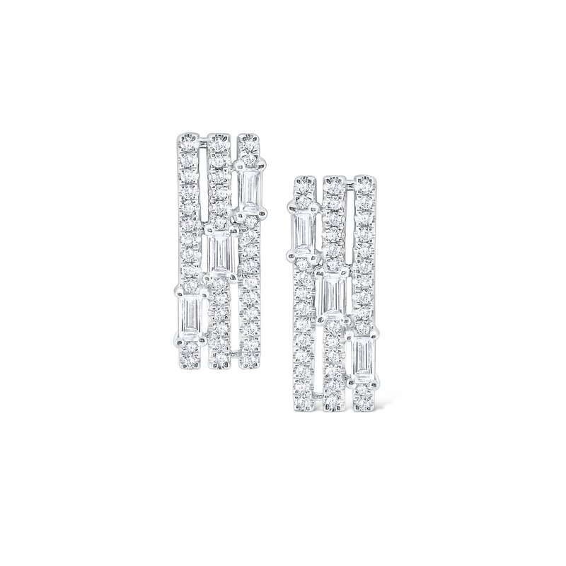 KC Designs Diamond Triple Row Mosaic Stud Earrings Set in 14 Kt. Gold