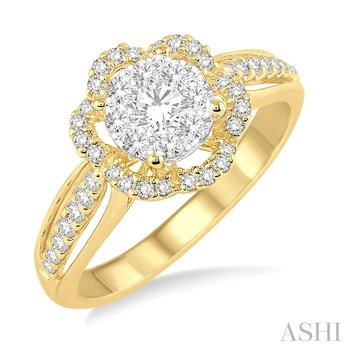 FLOWER SHAPE LOVEBRIGHT DIAMOND ENGAGEMENT RING