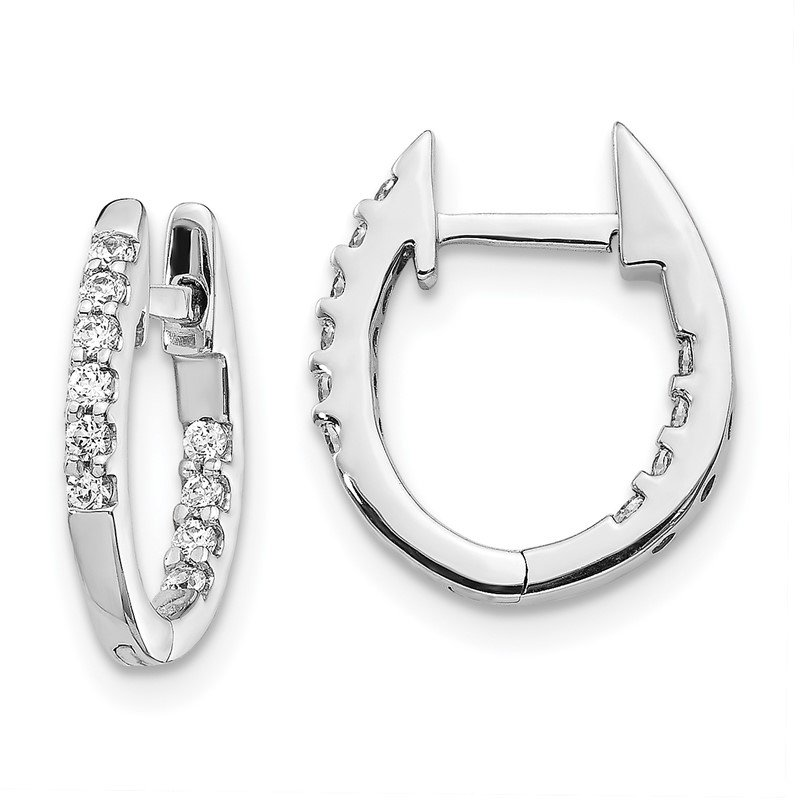 Quality Gold 14k White Gold In/Out Diamond Hinged Hoop Earrings