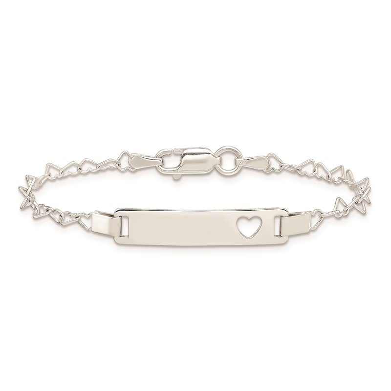 Quality Gold Sterling Silver Heart Baby ID Bracelet