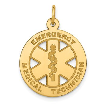 14k Polished Medium EMT Medical Pendant