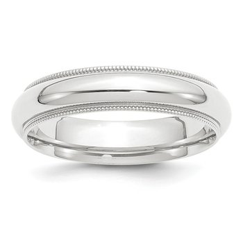 Platinum 5mm Comfort-Fit Milgrain Size 10 Wedding Band