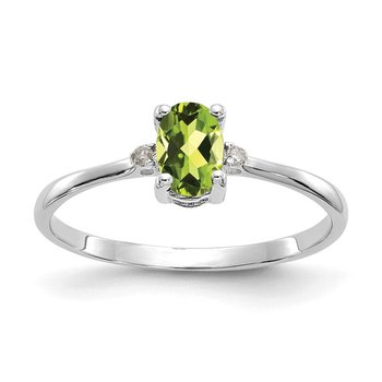 10k White Gold Polished Geniune Diamond & Peridot Birthstone Ring