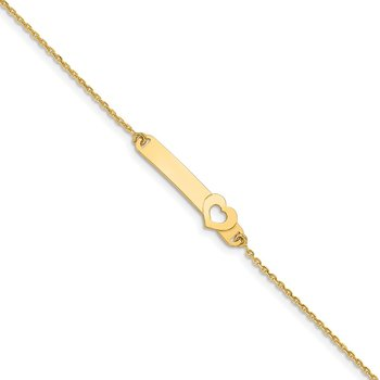 14K Children's Polished Heart w/1in ext. ID Bracelet