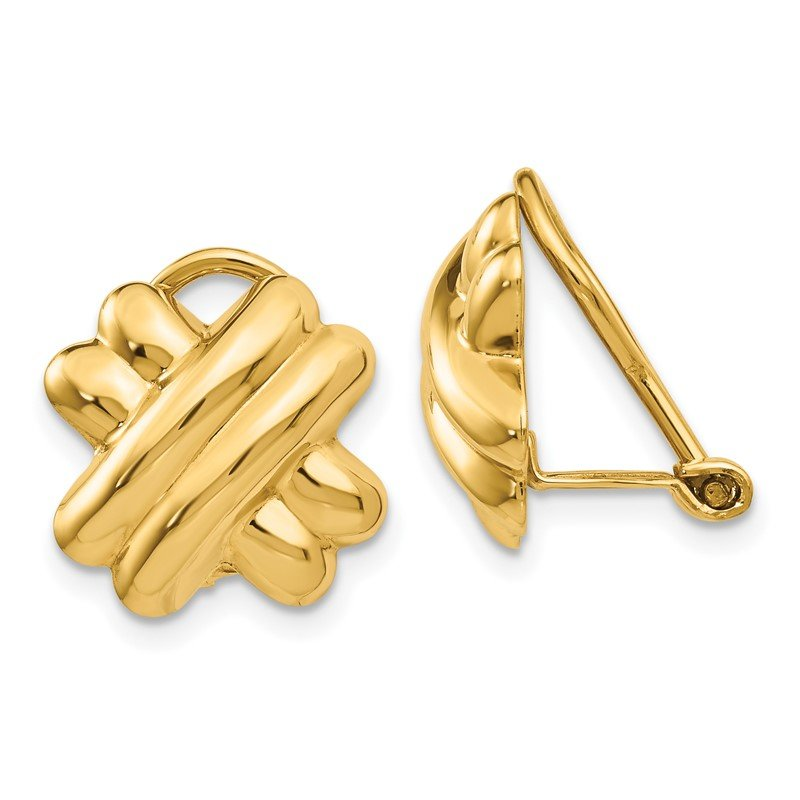 Quality Gold 14k Non-pierced X Earrings