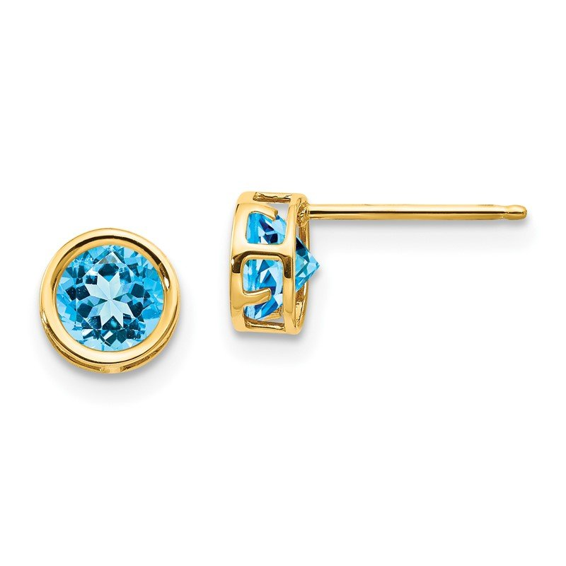 Quality Gold 14k 5mm Blue Topaz Bezel Set Stud Earrings