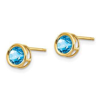 14k 5mm Blue Topaz Bezel Set Stud Earrings