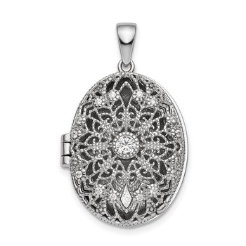 Sterling Silver Rhodium-plated CZ Filigree Top Polished Back Oval Locket