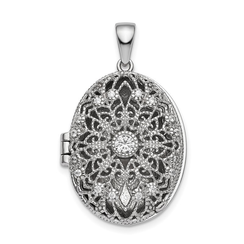 Quality Gold Sterling Silver Rhodium-plated CZ Filigree Top Polished Back Oval Locket