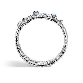Classic Chain Triple Coil Bracelet in Hammered Silver with Gemstone