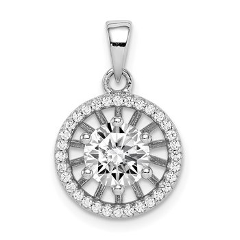 Sterling Silver Rhodium-plated 6mm Center CZ Circle Pendant