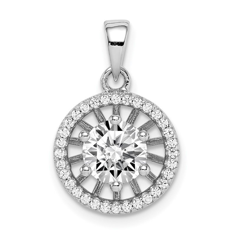 Quality Gold Sterling Silver Rhodium-plated 6mm Center CZ Circle Pendant