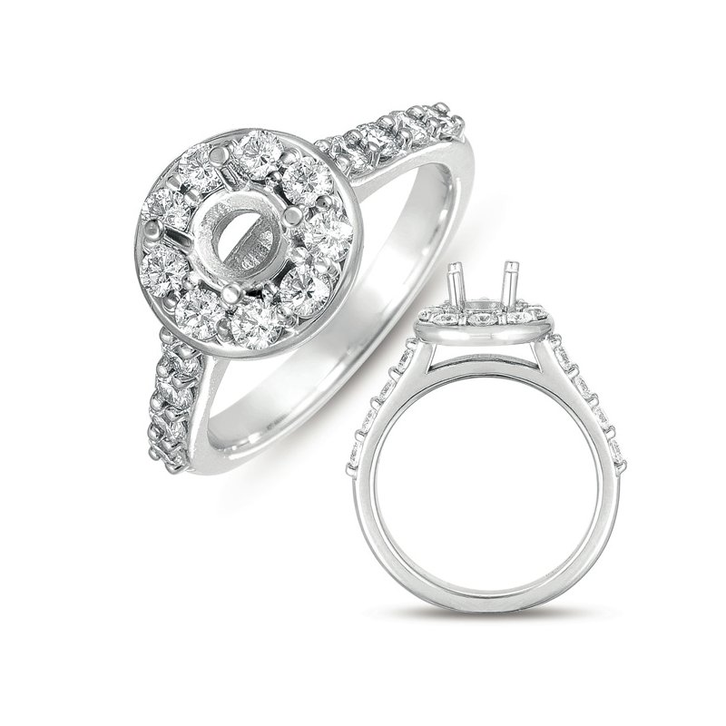 S. Kashi & Sons Bridal White Gold Halo Ring 1ct round head