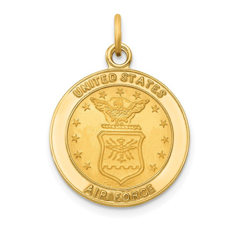 Quality Gold 14k U.S. AIR FORCE Insignia Disc Pendant