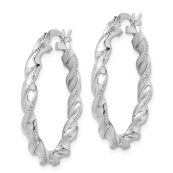Sterling Silver Rhodium Plated Twisted 3.5x30mm Hoop Earrings