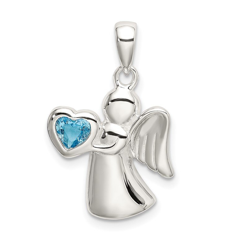 Quality Gold Sterling Silver Angel w/Blue CZ Heart Pendant