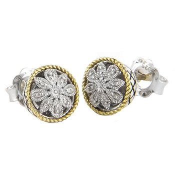 18kt and Sterling Silver Round Antique Flower Diamond Stud Earrings