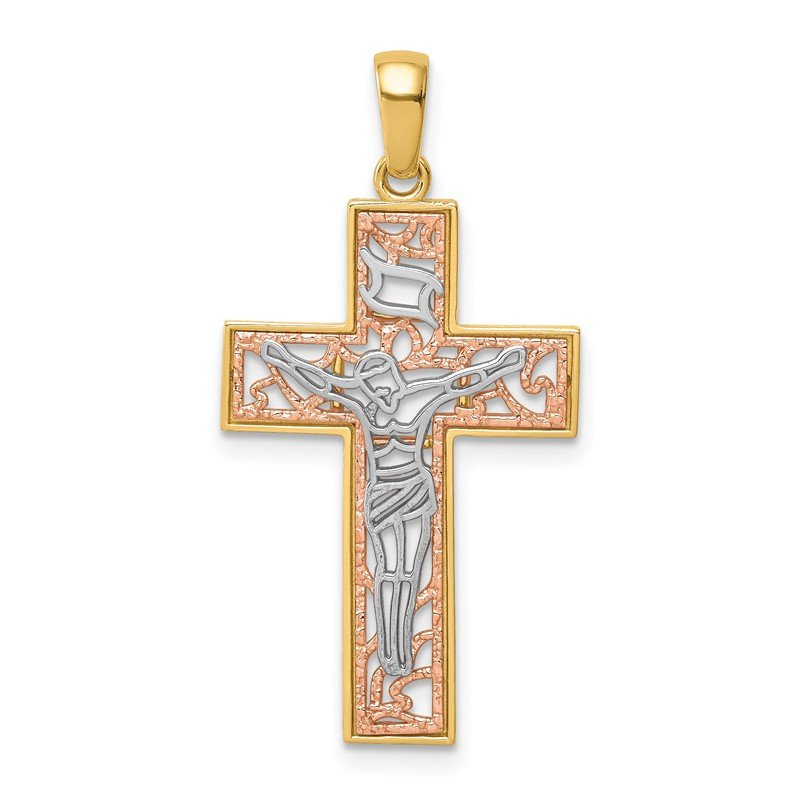 Quality Gold 14K Two-Tone w/White Rhodium Crucifix Pendant
