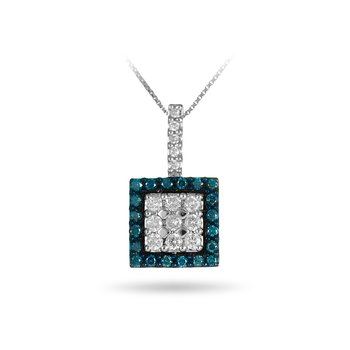 14K WG White & Blue Diamond Square Pendant