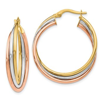 Leslie's 14k Tri-color Polished Twisted Hoop Earrings