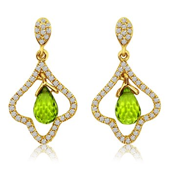 14K Yellow Gold Briolette Peridot Earrings