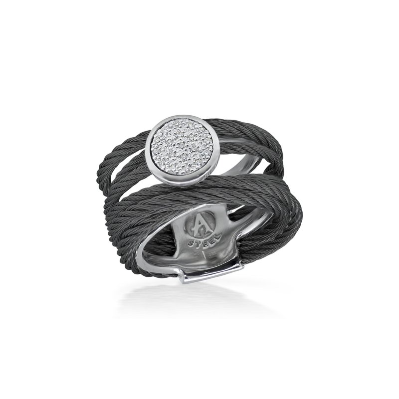 ALOR Black Cable Intermix Ring with 18kt White Gold & Round Diamond Station