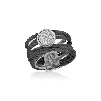 Black Cable Intermix Ring with 18kt White Gold & Round Diamond Station