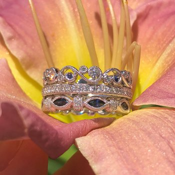 Marquise Sapphire Diamond Wedding Band