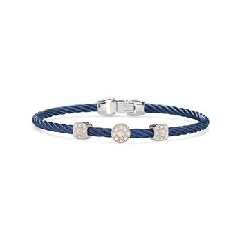 Blueberry Cable Essential Stackable Bracelet with Multiple Diamond Station set in 18kt White & Rose Gold