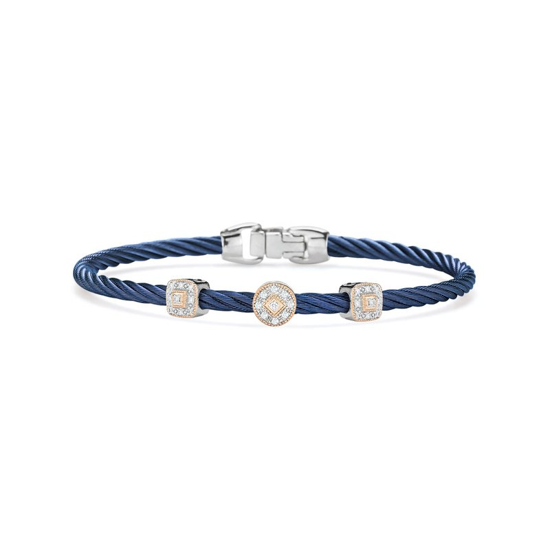 ALOR Blueberry Cable Essential Stackable Bracelet with Multiple Diamond Station set in 18kt White & Rose Gold