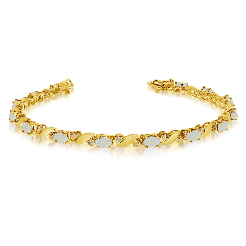 Color Merchants 14k Yellow Gold Natural Opal And Diamond Tennis Bracelet