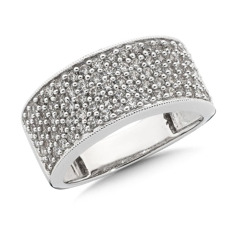 SDC Creations Pave set Wide Diamond Band Ring 14k White Gold (1ct. tw.) GH/SI1-SI2