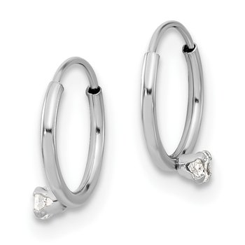 14k Madi K White Gold Polished 2mm CZ on Small Endless Hoops