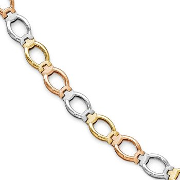 Leslie's 14K Tri-color Polished and Satin Link Bracelet