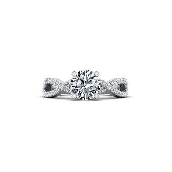 Ribbon Style Diamond Design Engagement Ring