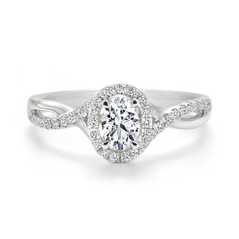 Oval Diamond Twist Halo Engagement Ring