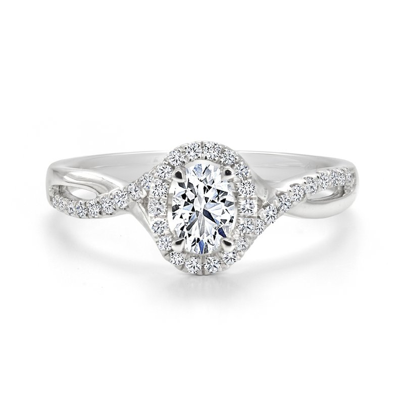 Canadian Rocks Oval Diamond Twist Halo Engagement Ring