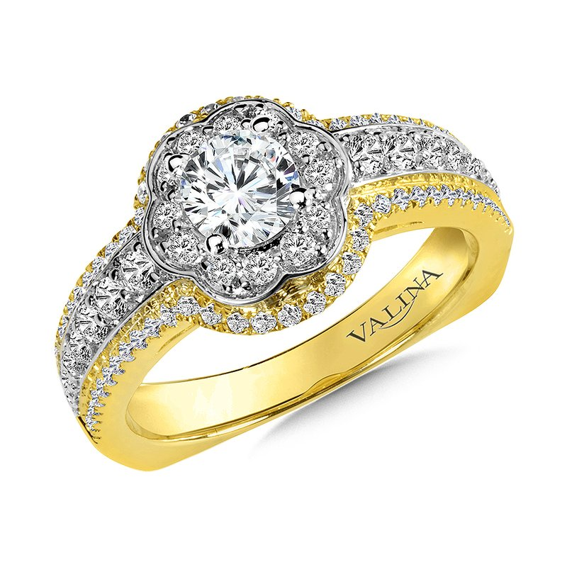 Valina Diamond Halo Engagement Ring Mounting in 14K Yellow/White/Rose Gold (.59 ct. tw.)