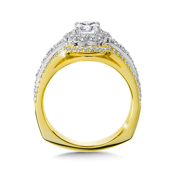 Diamond Halo Engagement Ring Mounting in 14K Yellow/White/Rose Gold (.59 ct. tw.)