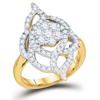 14kt Yellow Gold Womens Round Diamond Wide Cluster Fashion Ring 1.00 Cttw