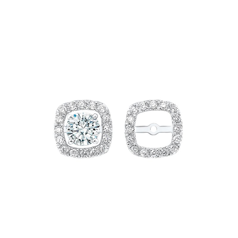 Gems One Micro Prong Diamond Halo Jacket Earrings in 14K White Gold (1/5 ct. tw.)